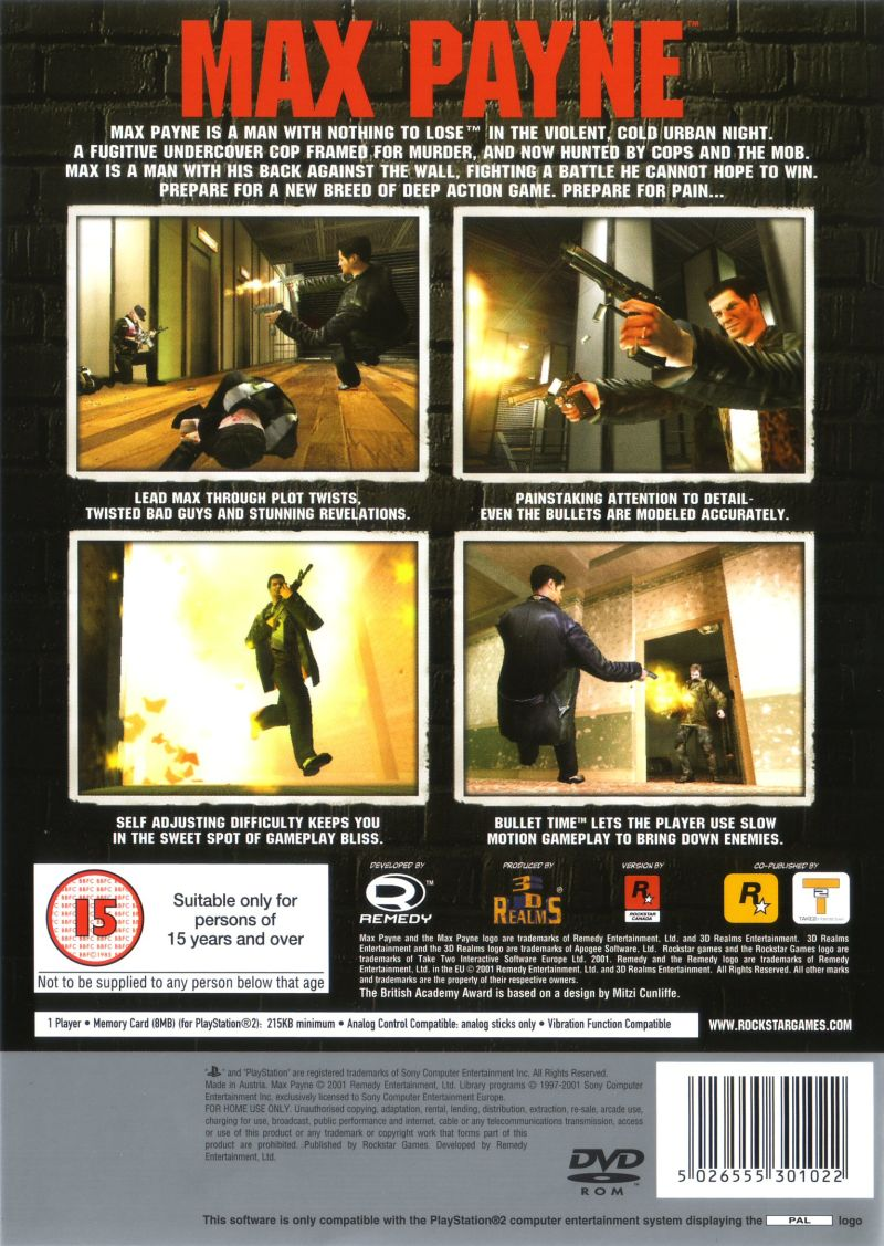 Max Payne 2001 Playstation 2 Box Cover Art Mobygames