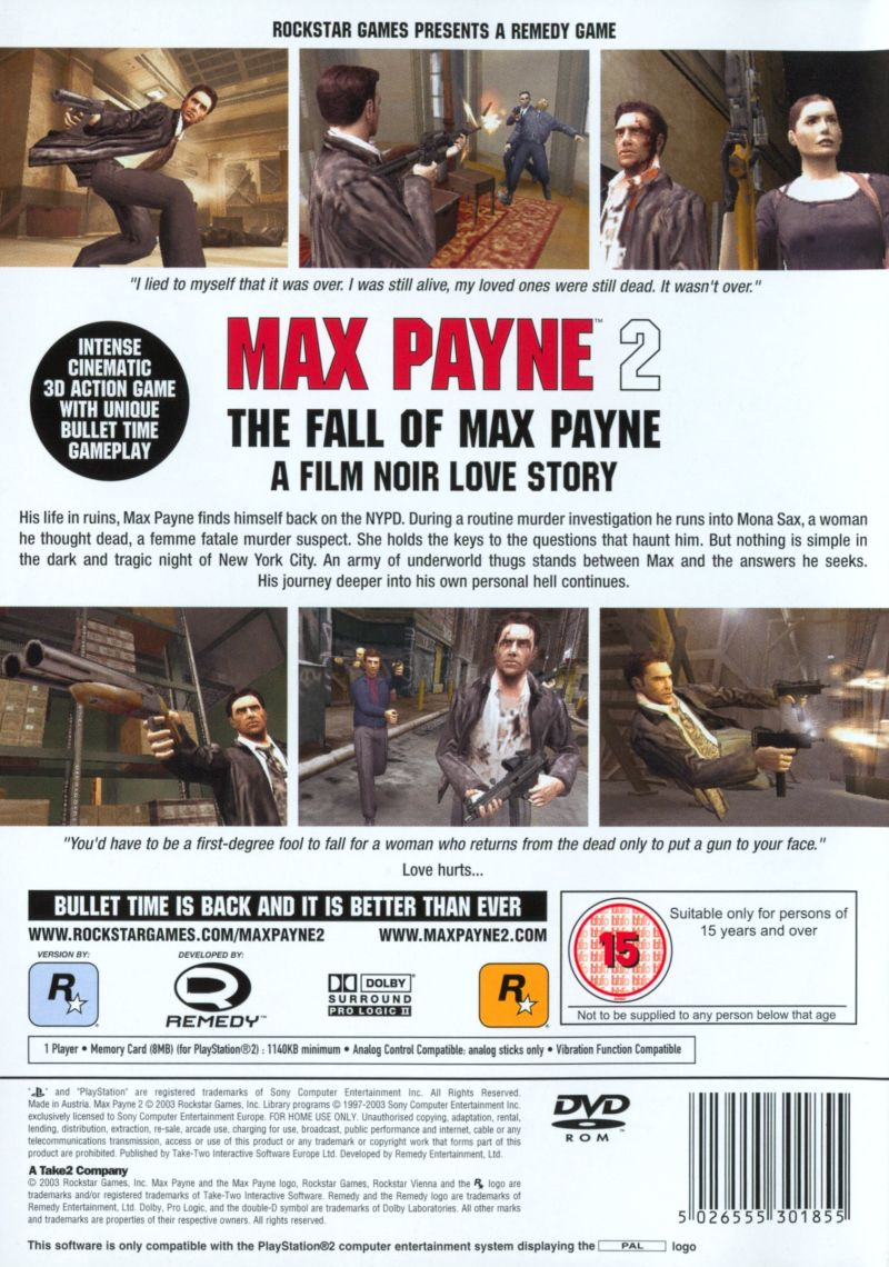 Max Payne 2: The Fall of Max Payne PlayStation 2 Back Cover