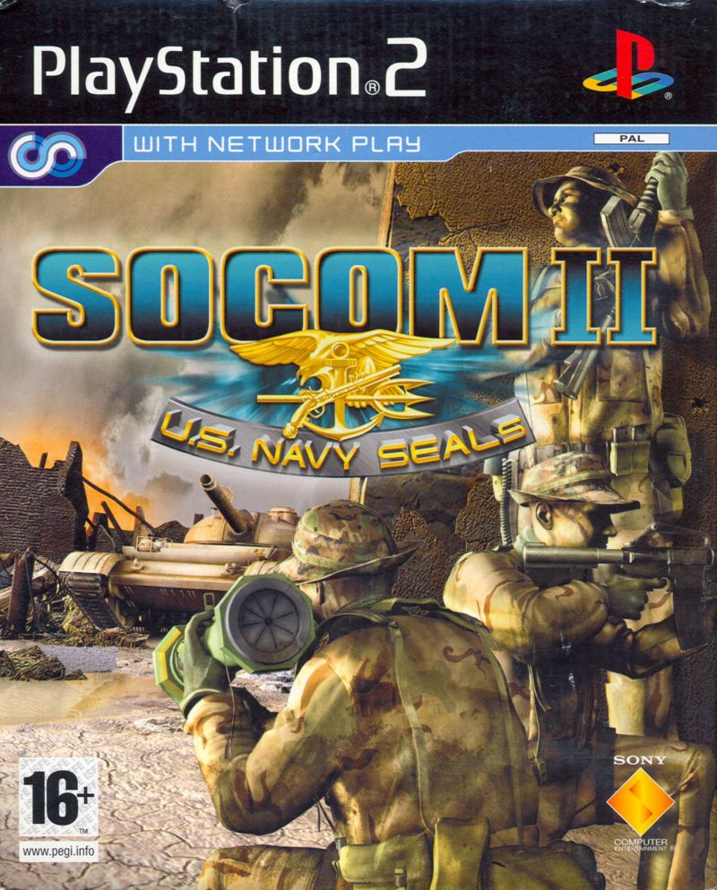 SOCOM II: U S  Navy SEALs (2003) PlayStation 2 box cover art