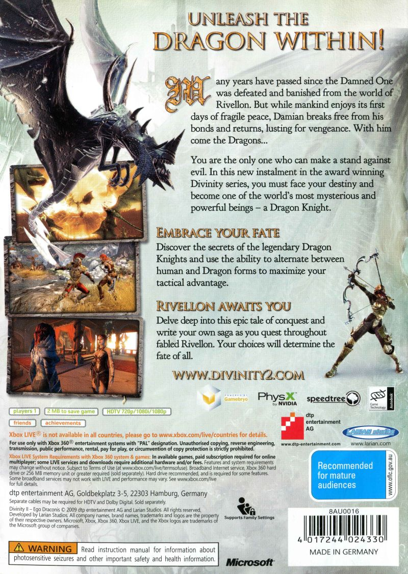 Divinity ii: ego draconis (2009) xbox 360 box cover art mobygames.