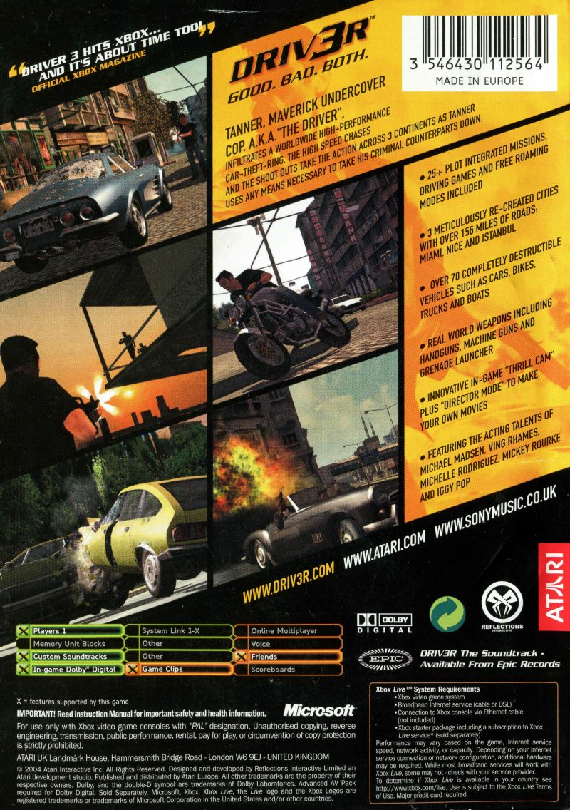 Driv3r (2004) PlayStation 2 box cover art - MobyGames