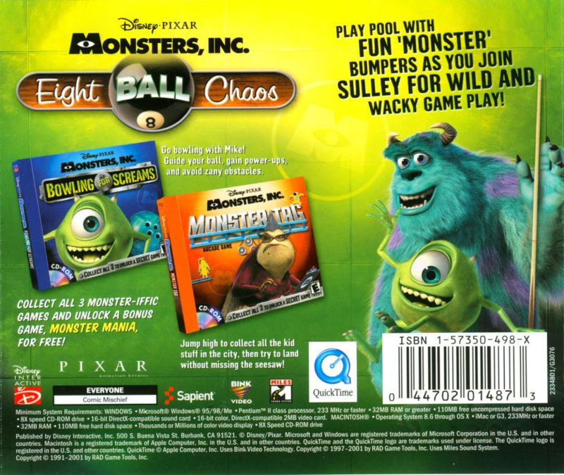 Disney•Pixar's Monsters Inc.: Wreck Room Arcade: Eight Ball Chaos Macintosh Back Cover