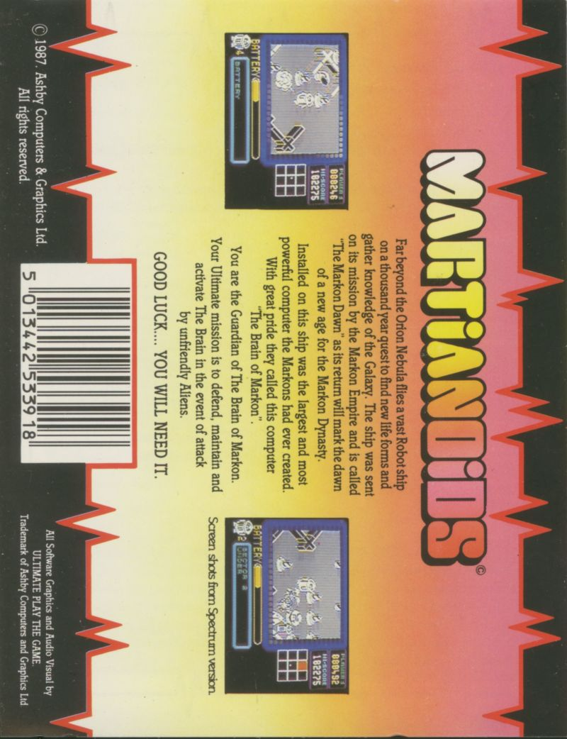 Martianoids ZX Spectrum Back Cover