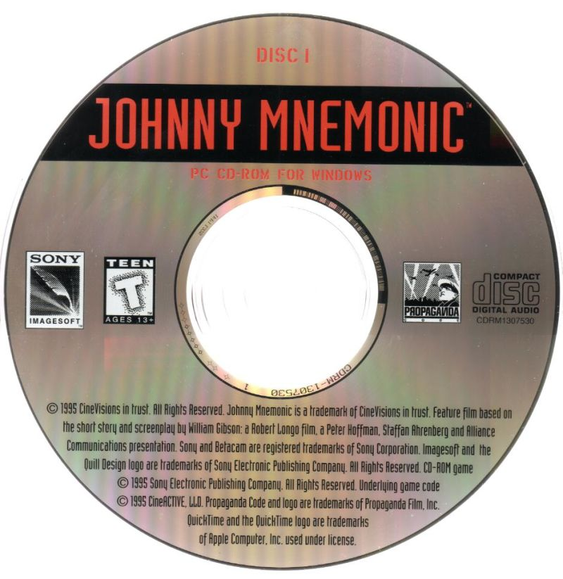 Johnny Mnemonic Windows 3.x Media Disc 1/2