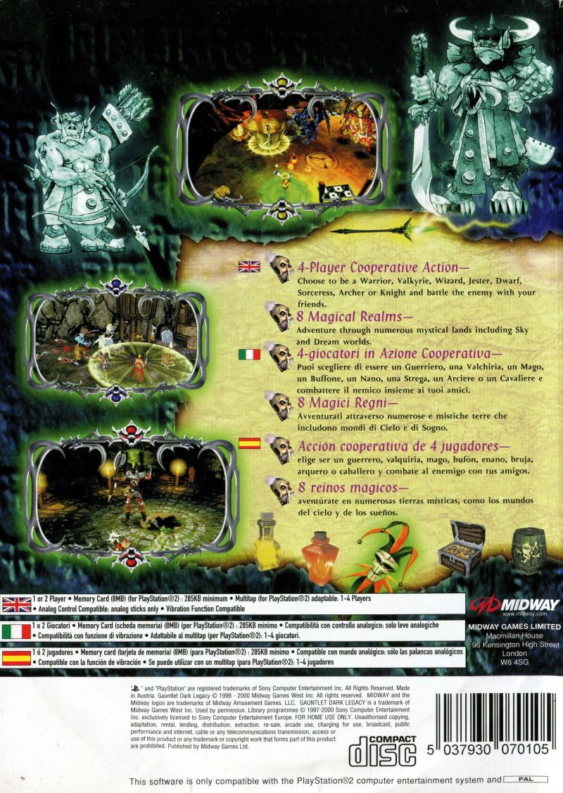 Gauntlet: Dark Legacy PlayStation 2 Back Cover