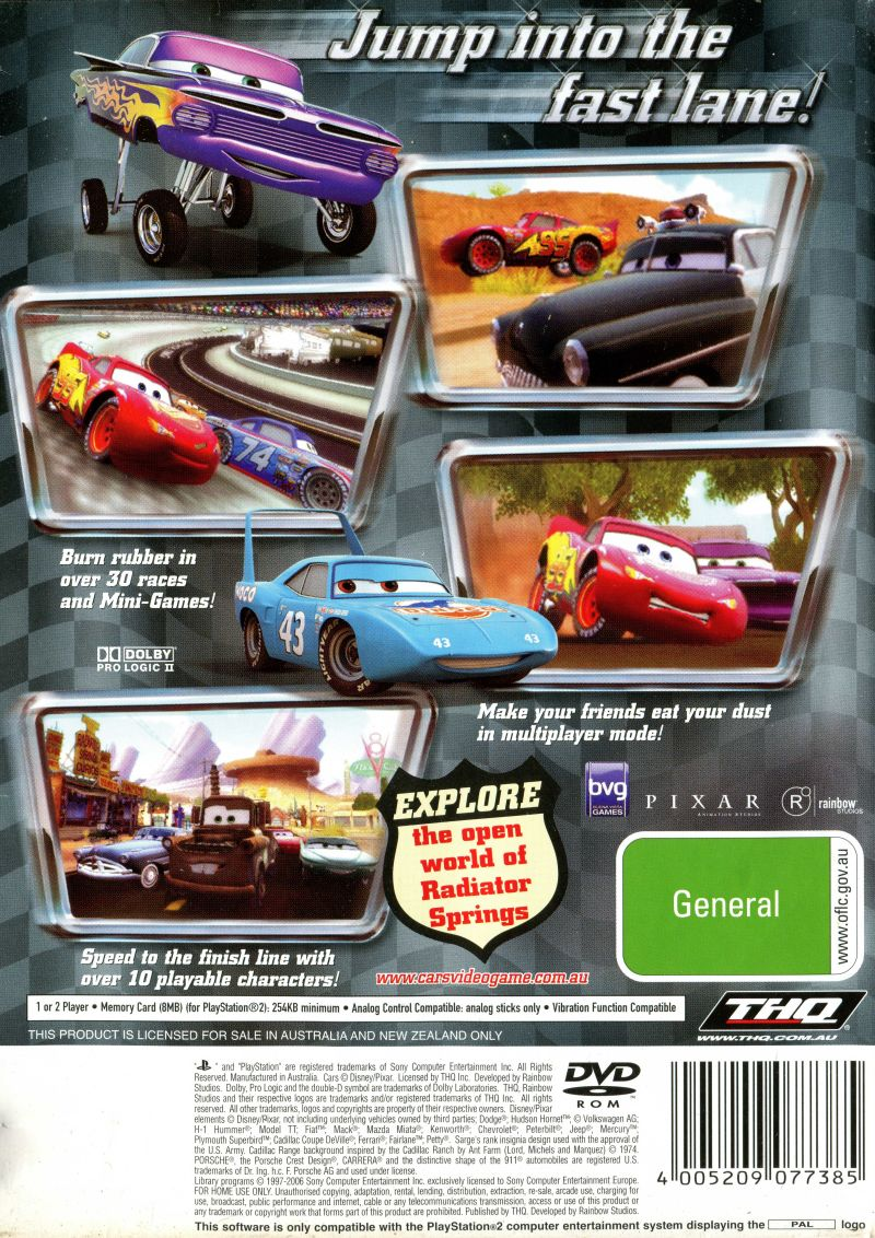 Disney•Pixar Cars PlayStation 2 Back Cover