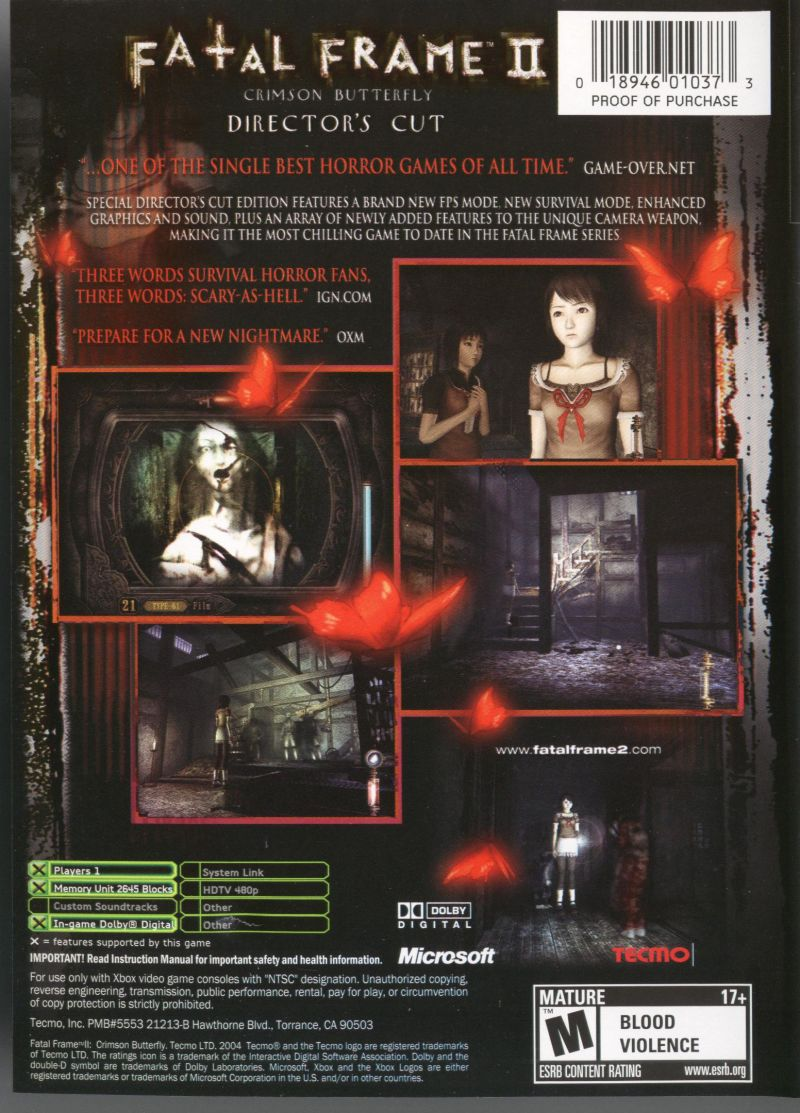 Fatal Frame II: Crimson Butterfly - Director\'s Cut (2004) Xbox box ...