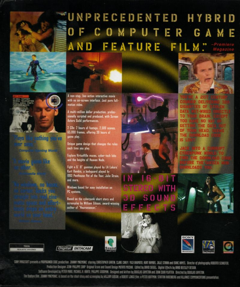 Johnny Mnemonic Windows 3.x Back Cover