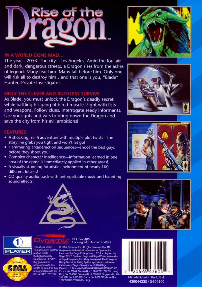 Rise of the Dragon SEGA CD Back Cover