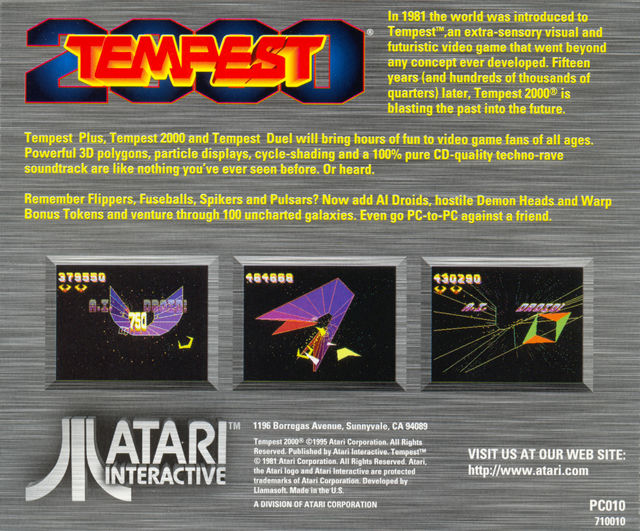 Tempest 2000 DOS Other Jewel Case - Back
