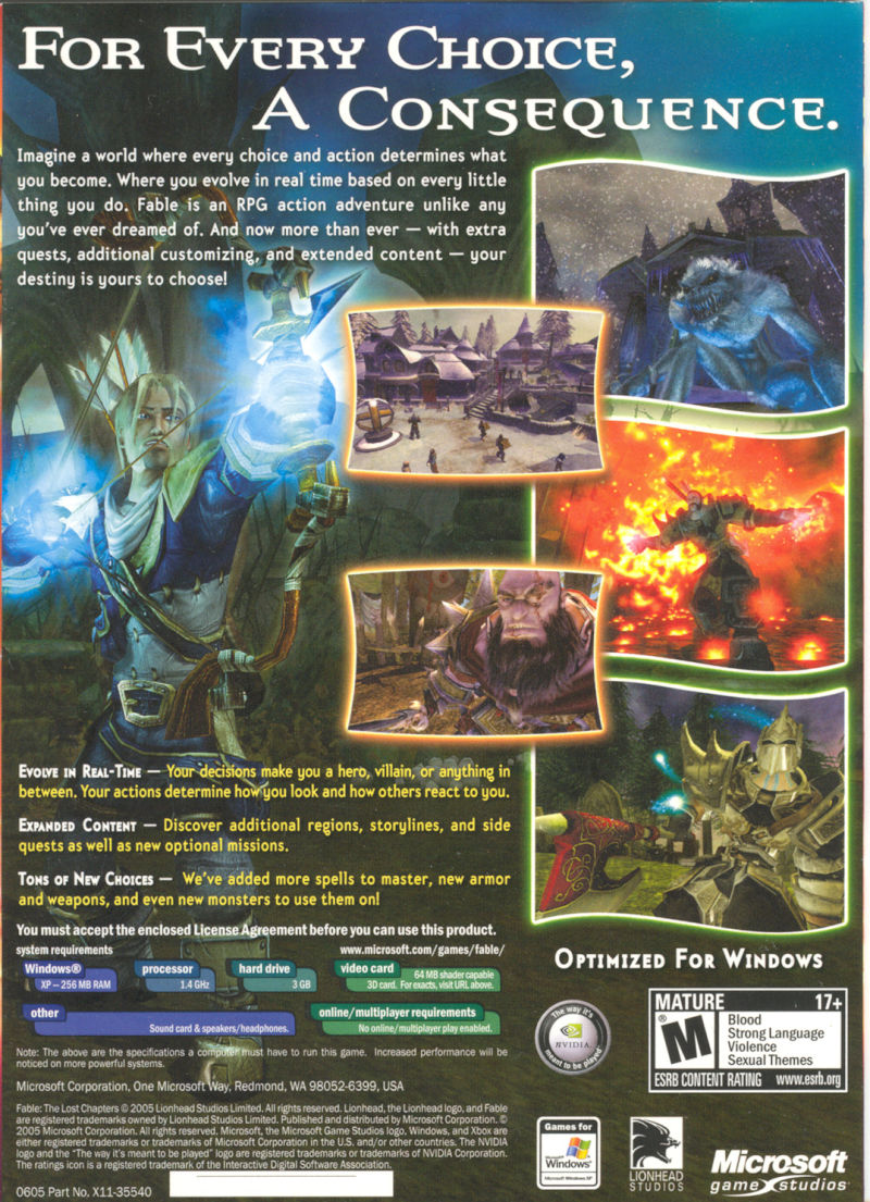 Fable: The Lost Chapters Windows Back Cover