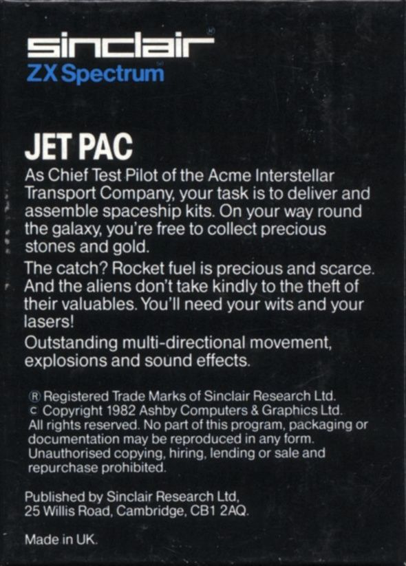 Jetpac ZX Spectrum Back Cover