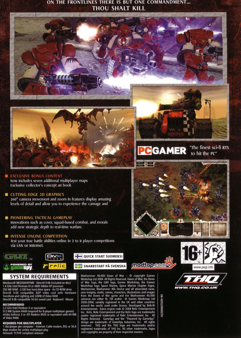 Warhammer 40,000: Dawn of War - Game of the Year Windows Back Cover