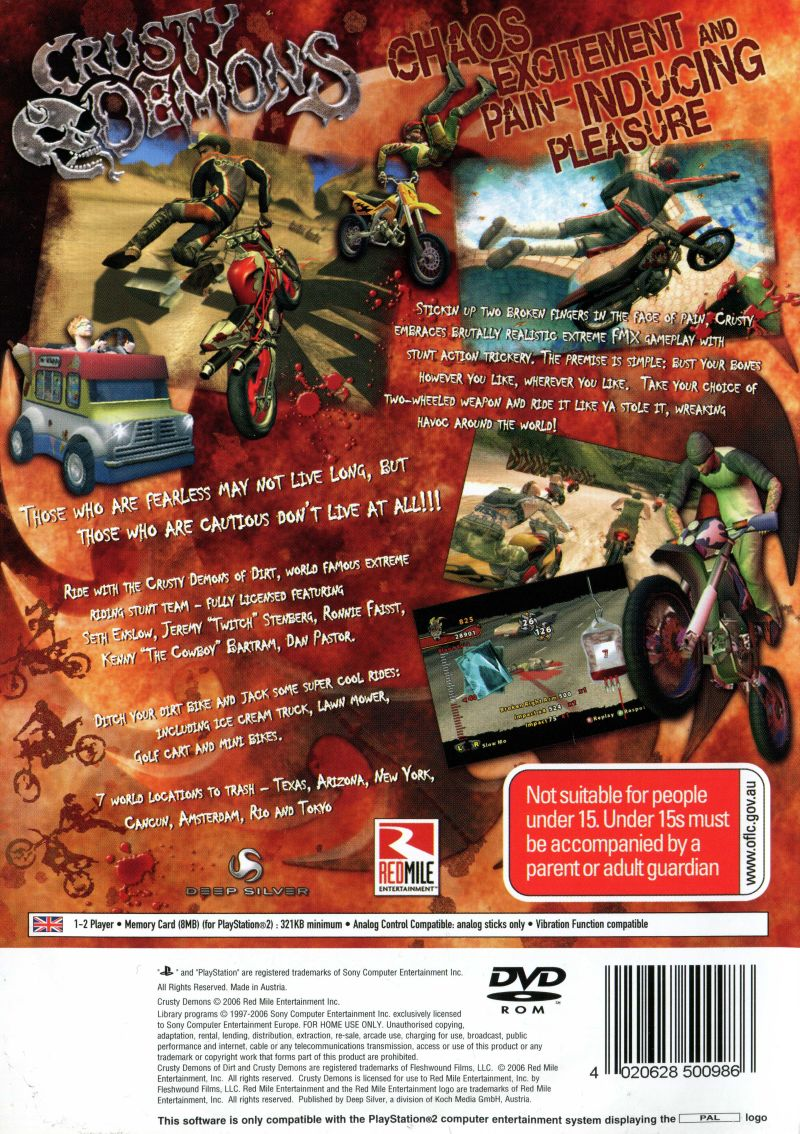 Crusty Demons (2006) PlayStation 2 box cover art - MobyGames