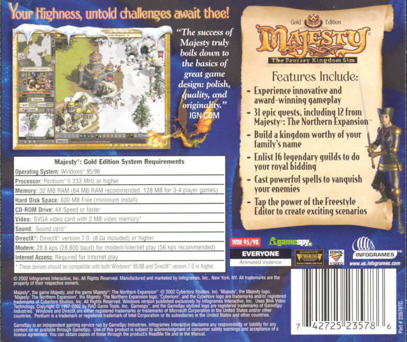Majesty: The Fantasy Kingdom Sim - Gold Edition Windows Back Cover
