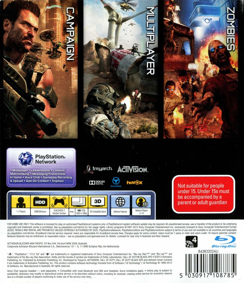 Call of Duty: Black Ops II (2012) PlayStation 3 box cover art