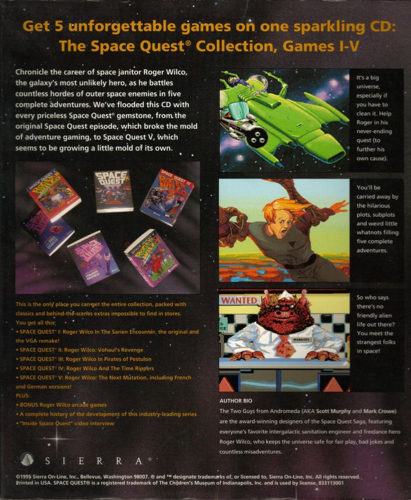 Space Quest (Collector's Edition) DOS Back Cover