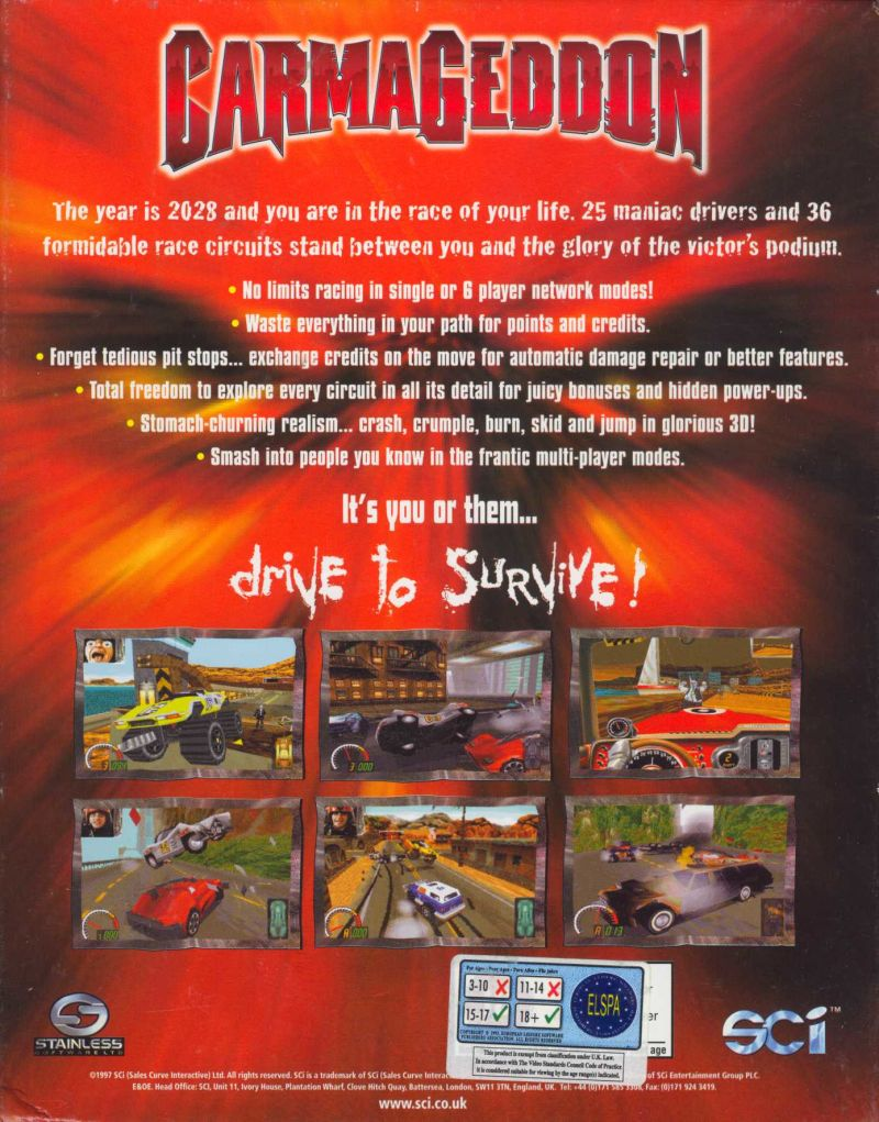 Carmageddon DOS Back Cover