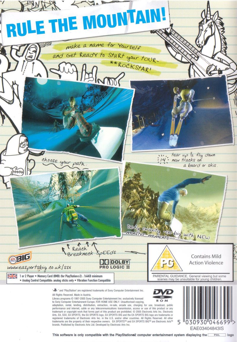 SSX on Tour PlayStation 2 Back Cover
