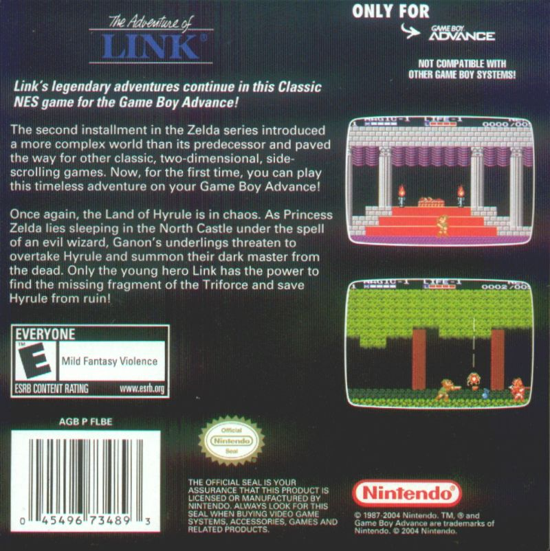 Zelda II: The Adventure of Link Game Boy Advance Back Cover