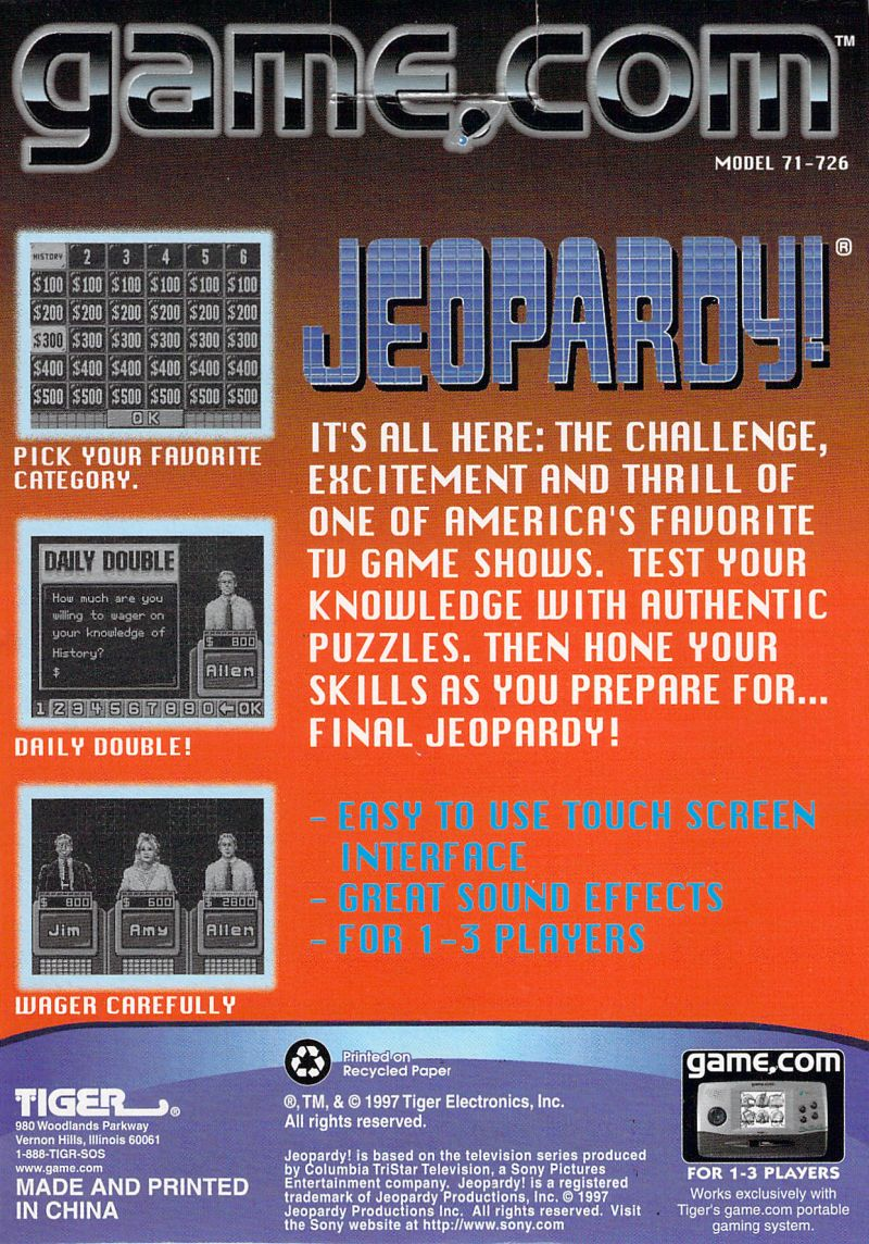 Jeopardy! (1998) Game Com box cover art - MobyGames
