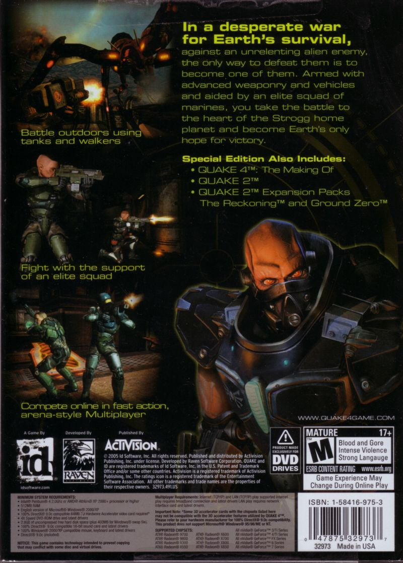 Quake 4: Special DVD Edition Windows Back Cover