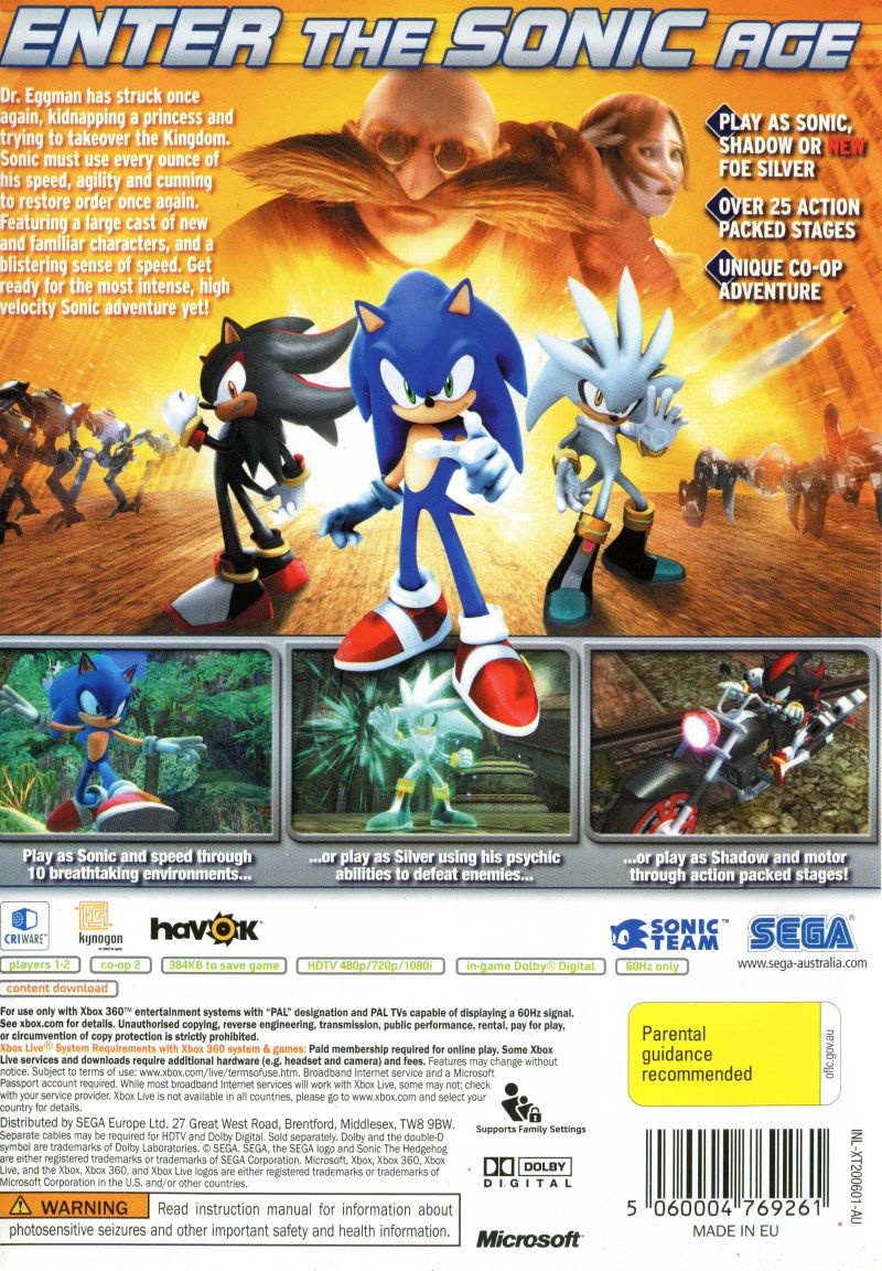 Sonic The Hedgehog 2006 Xbox 360 Box Cover Art Mobygames