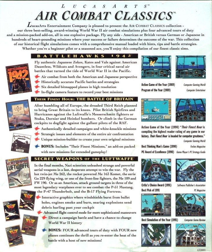 LucasArts Air Combat Classics DOS Back Cover