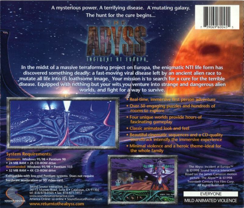 The Abyss: Incident at Europa Windows Other Jewel Case - Back