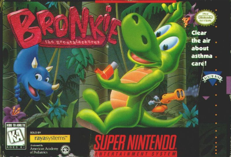 Bronkie The Bronchiasaurus SNES Front Cover