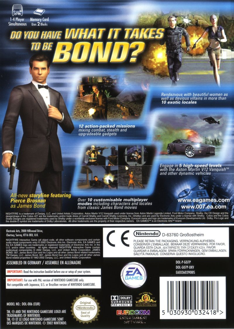 007: Nightfire GameCube Back Cover