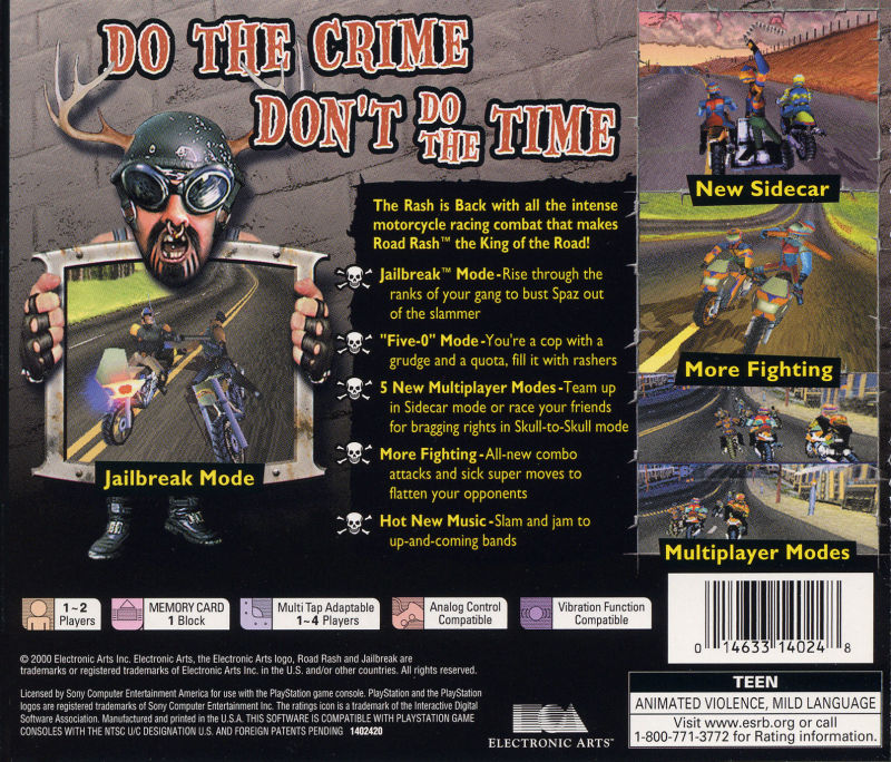 Road Rash: Jailbreak PlayStation Back Cover