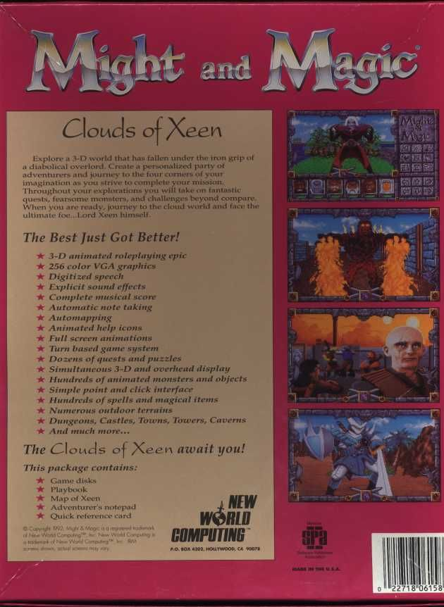 Might and Magic: Clouds of Xeen DOS Back Cover