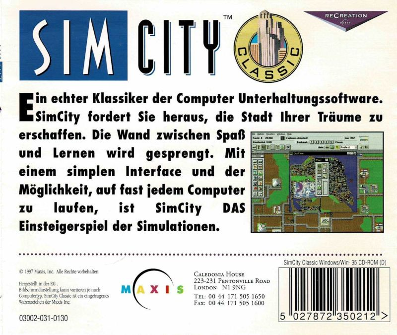 SimCity Windows Back Cover