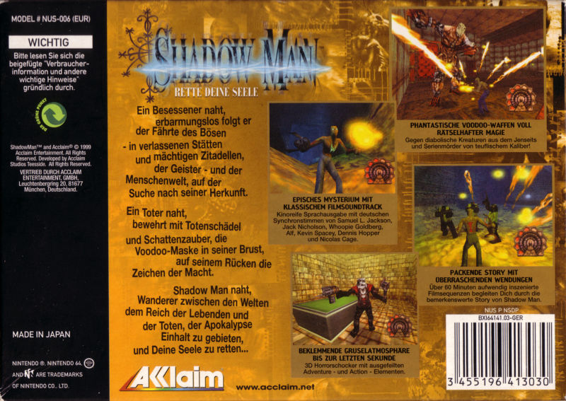 Shadow Man Nintendo 64 Back Cover