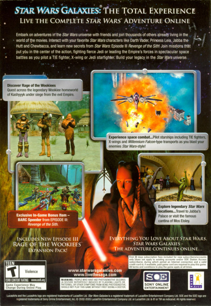 Star Wars: Galaxies - The Total Experience Windows Back Cover