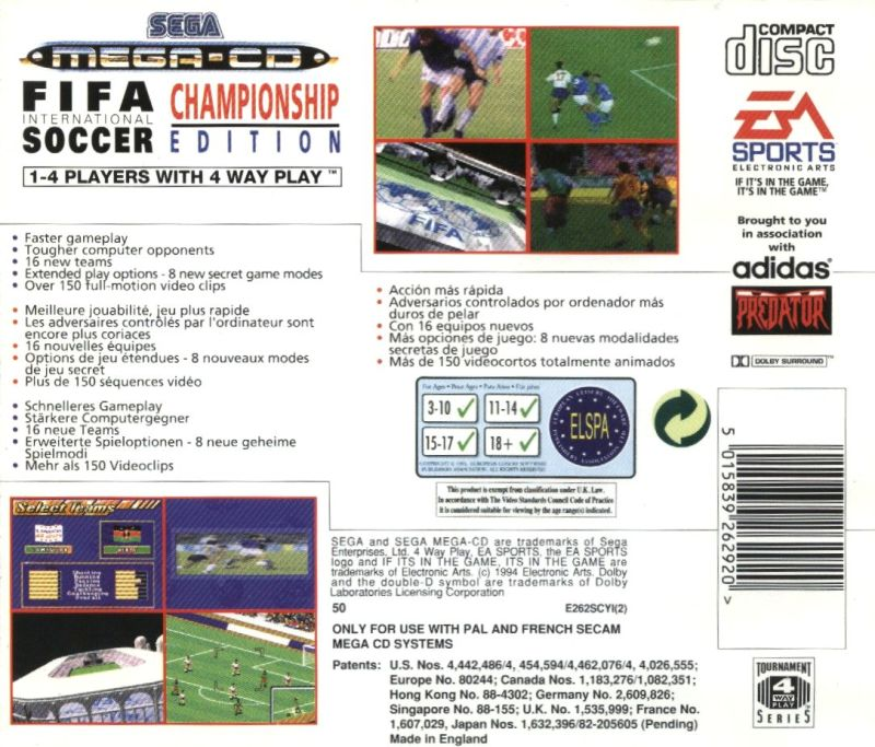 FIFA International Soccer SEGA CD Back Cover
