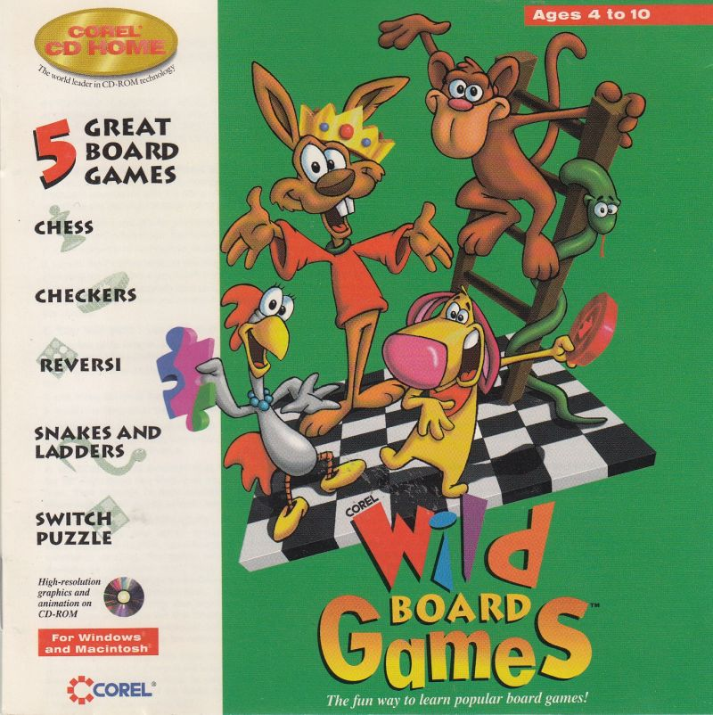 Corel Wild Board Games (1995) Macintosh box cover art