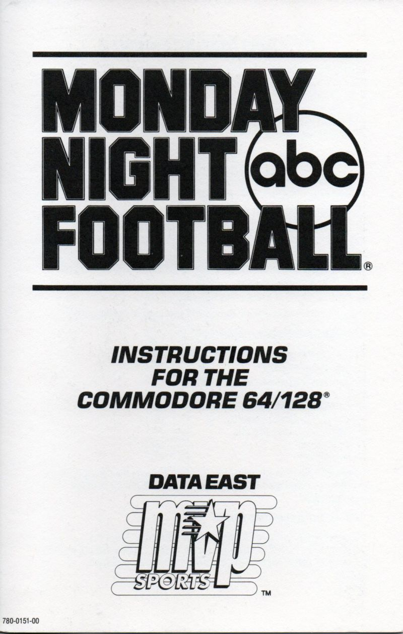 ABC Monday Night Football Commodore 64 Other Instructions C64/128 Front