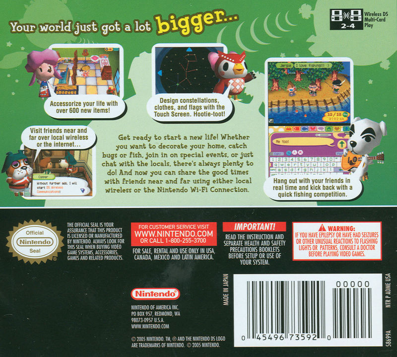 Animal Crossing: Wild World Nintendo DS Back Cover