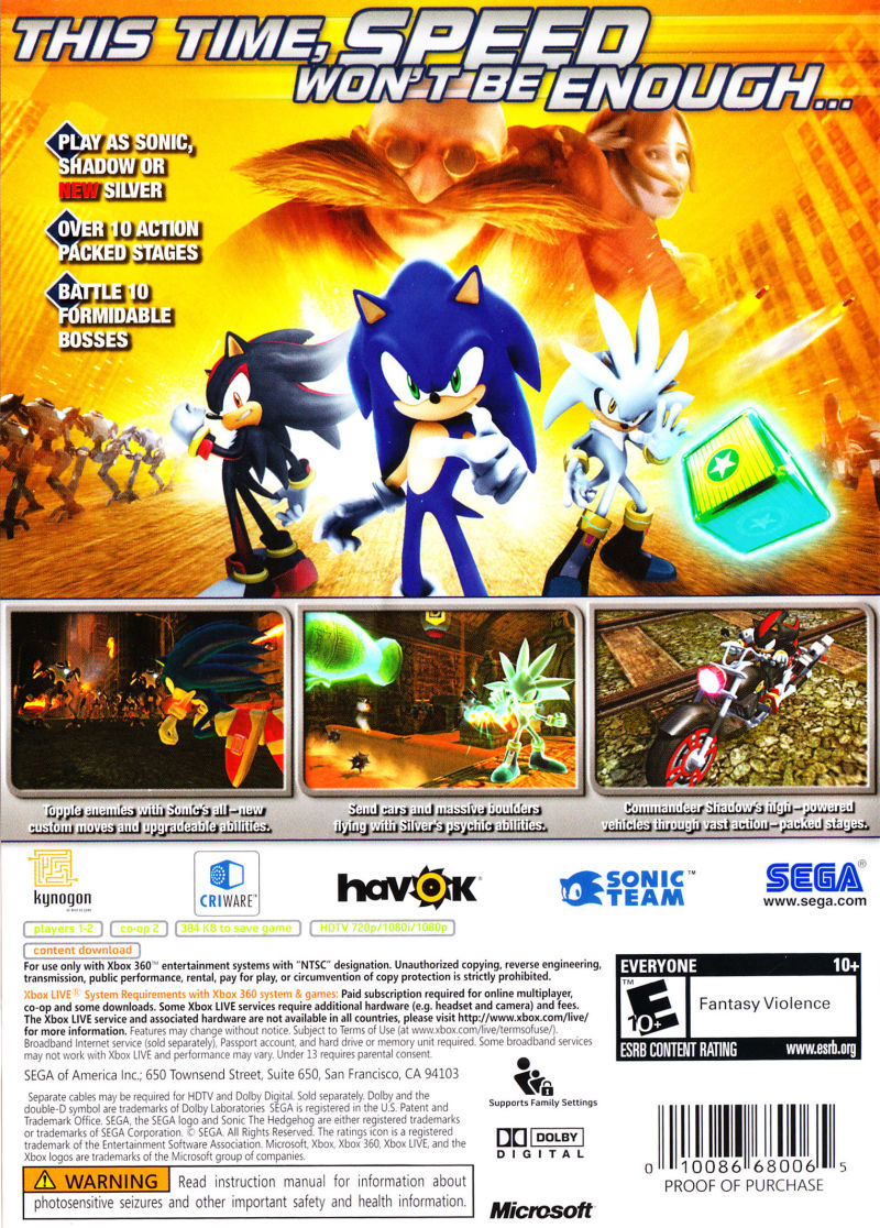 Xbox 360 Sonic The Hedgehog Games
