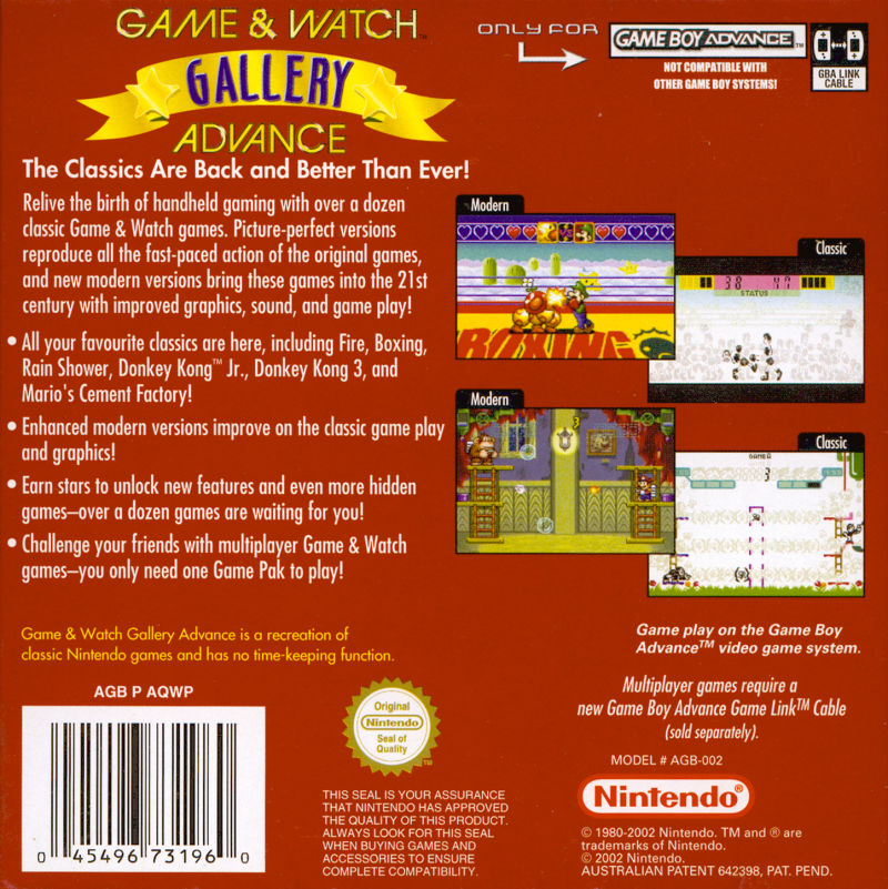 Game & Watch Gallery 4 Game Boy Advance Back Cover