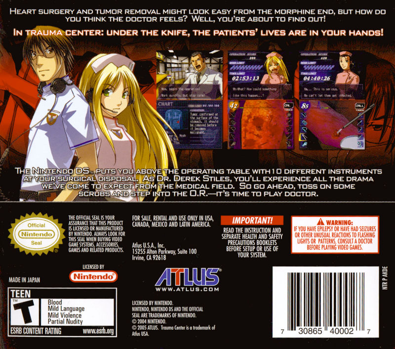 Trauma Center: Under the Knife Nintendo DS Back Cover