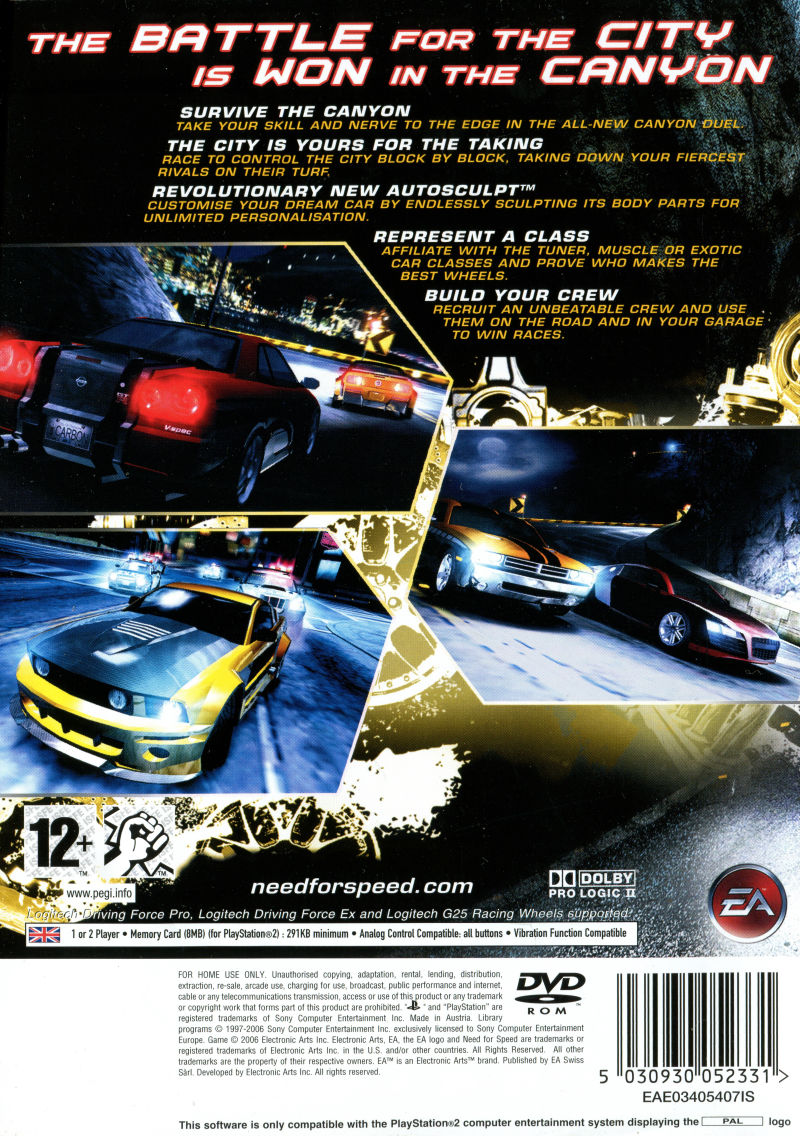 Need for Speed: Carbon (2006) PlayStation 2 box cover art