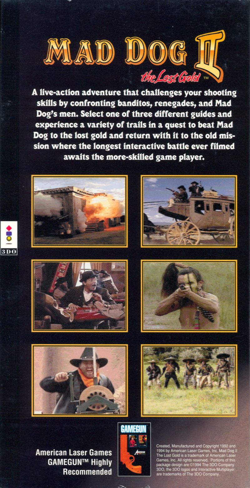 Mad Dog II: The Lost Gold 3DO Back Cover