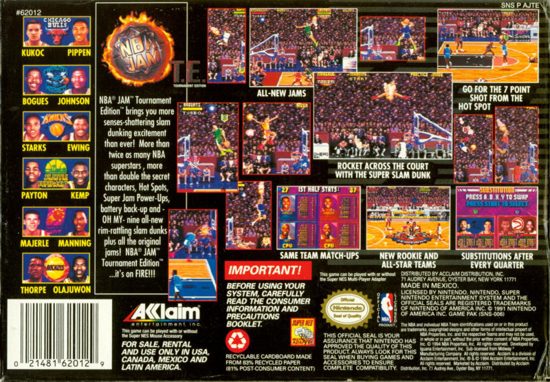 Nba Jam Tournament Edition 1995 Snes Box Cover Art