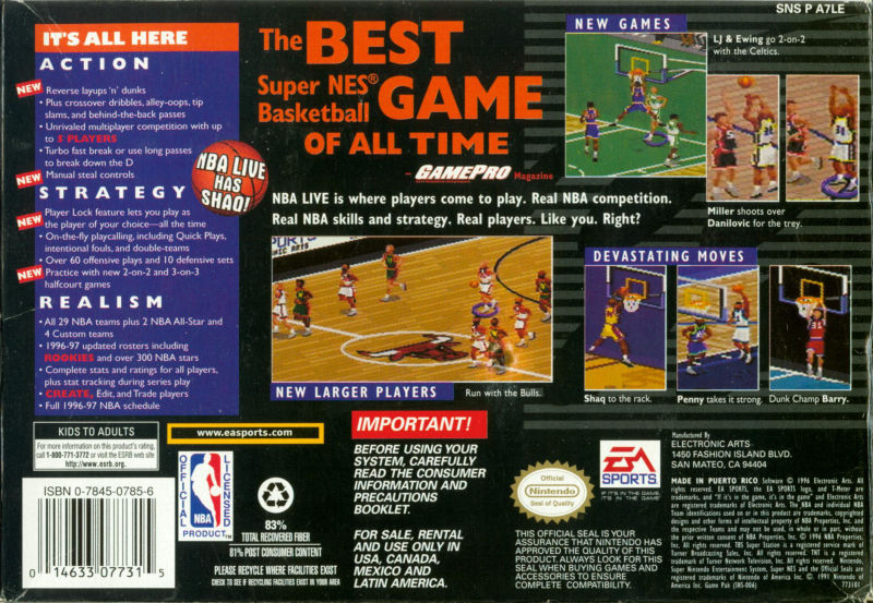 NBA Live 97 SNES Back Cover