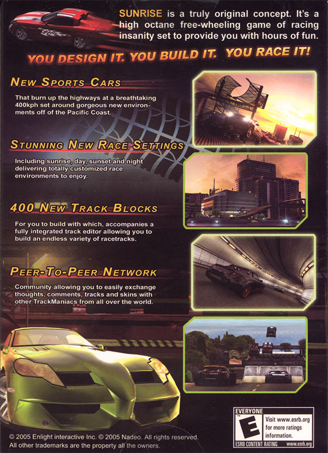 TrackMania Sunrise Windows Back Cover