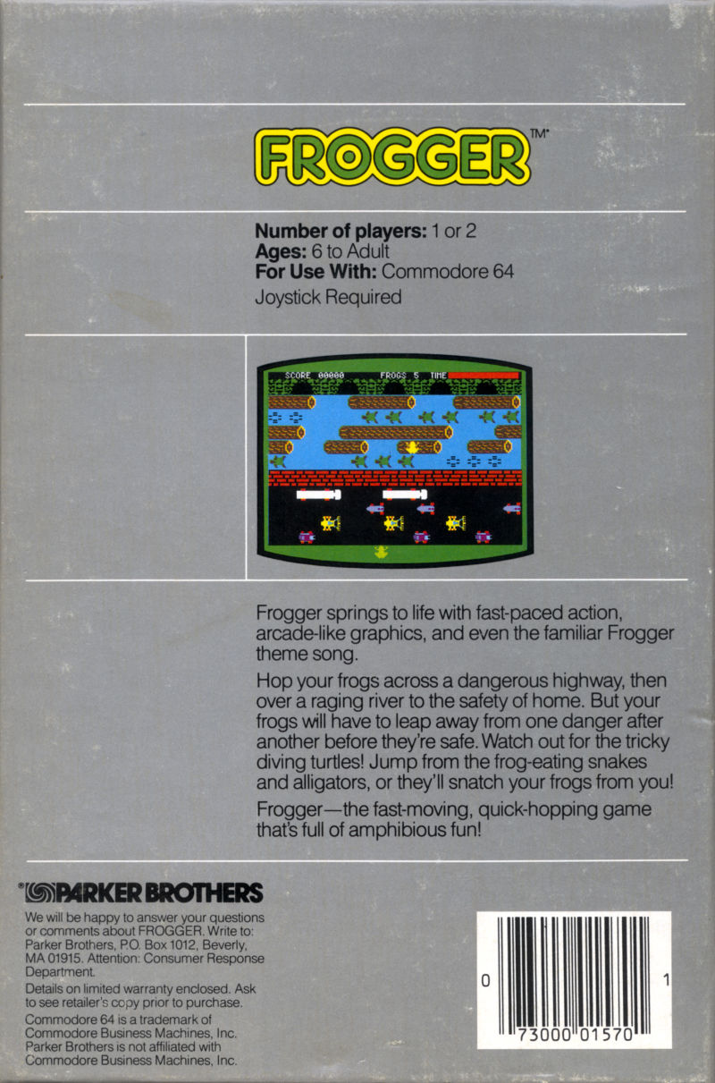 Frogger Commodore 64 Back Cover