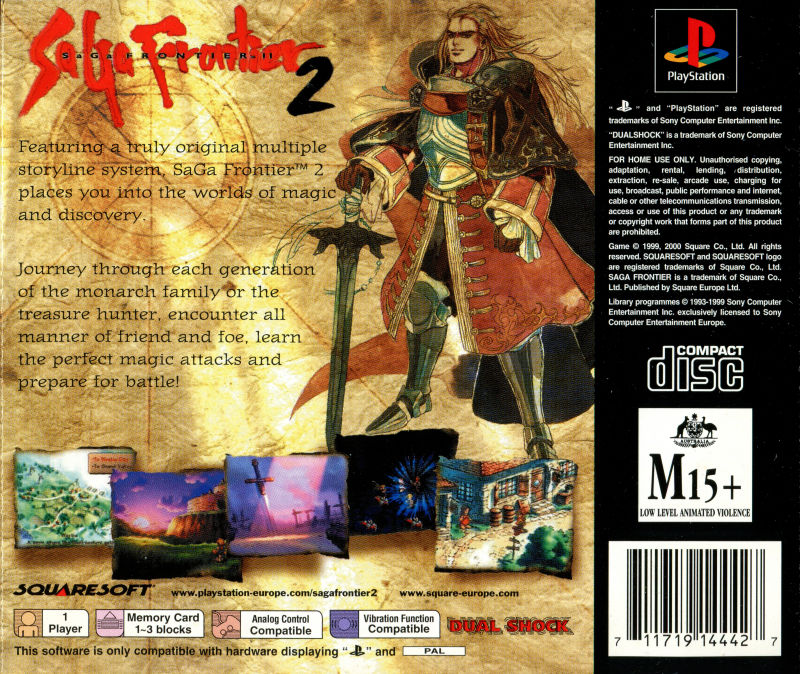 SaGa Frontier 2 PlayStation Back Cover